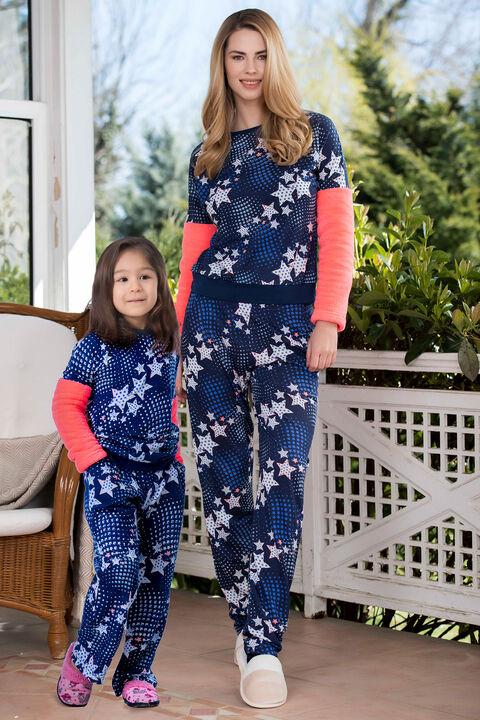 2'li Viskon Polar Kız Çocuk Pijama Takımı