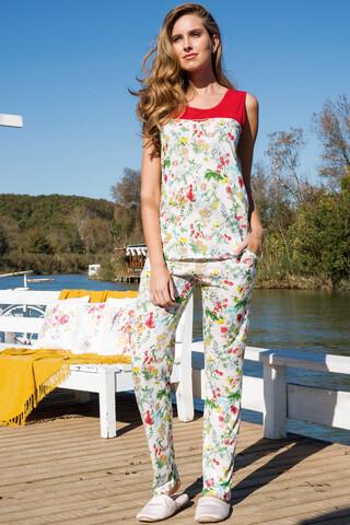 Kadın 3′lü Viskon Pijama Takımı - Thumbnail